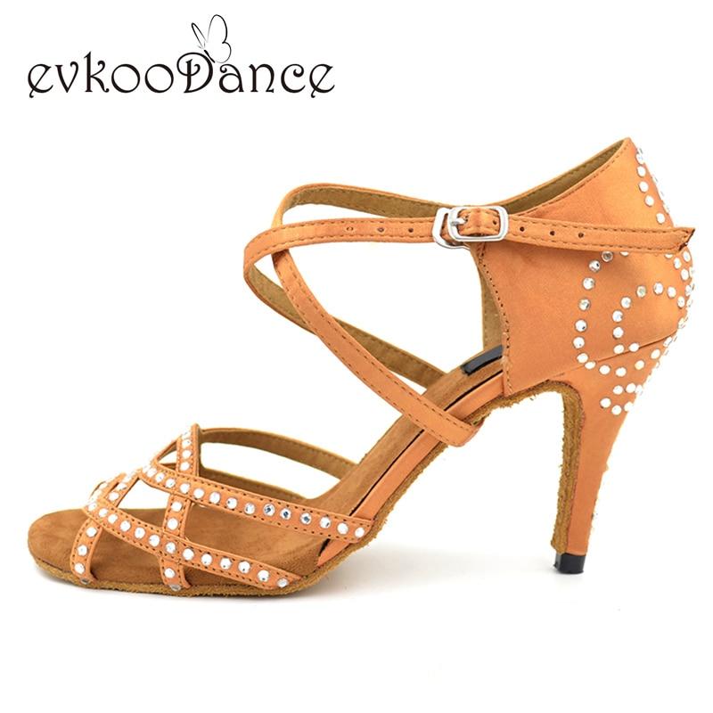 Zapatos de baile latino suede zool Gratis Verzending 8.5 cm hak Strass Vrouwen Salsa Ballroom Latin dansschoenen Rhinestones NL018