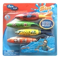 4pcs/lot Diving Throwing Torpedo Toys For Children Swimming Pool Water Fun Games Sport Play Toys Summer