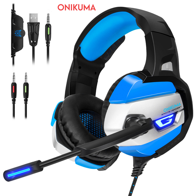 ONIKUMA K5 3.5mm Gaming Headset Gamer Headphones Stereo Game Earphone with Mic LED Light for PC Laptop PSC New Xbox One