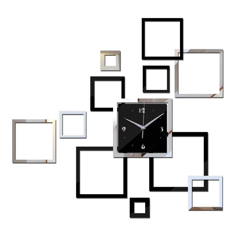New Wall Clock DIY Clocks Horloge Reloj De Pared Watch Modern Acrylic Mirror Sticker Living Room Quartz Needle