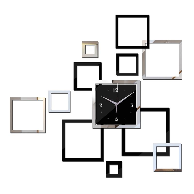 2015 novo relógio de parede relógios DIY horloge reloj de pared assista Modern acrílico espelho etiqueta sala de quartzo agulha freeshipping