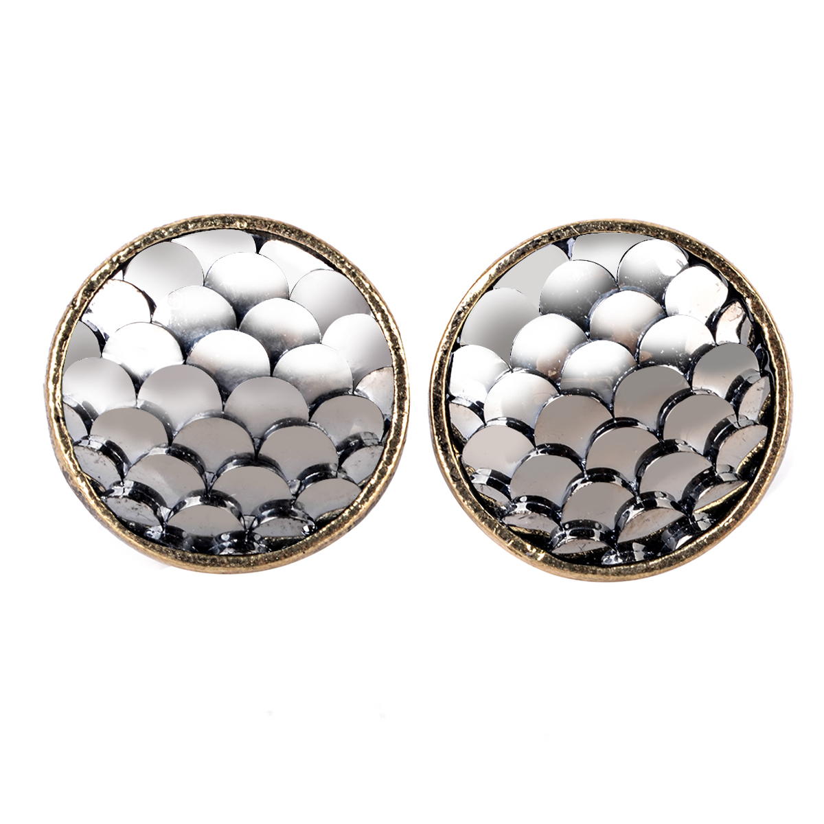 Charming Mermaid Fish Scale Ear Stud Earrings Shard Round Colorful Beads Earring For Woman Trendy Jewelry