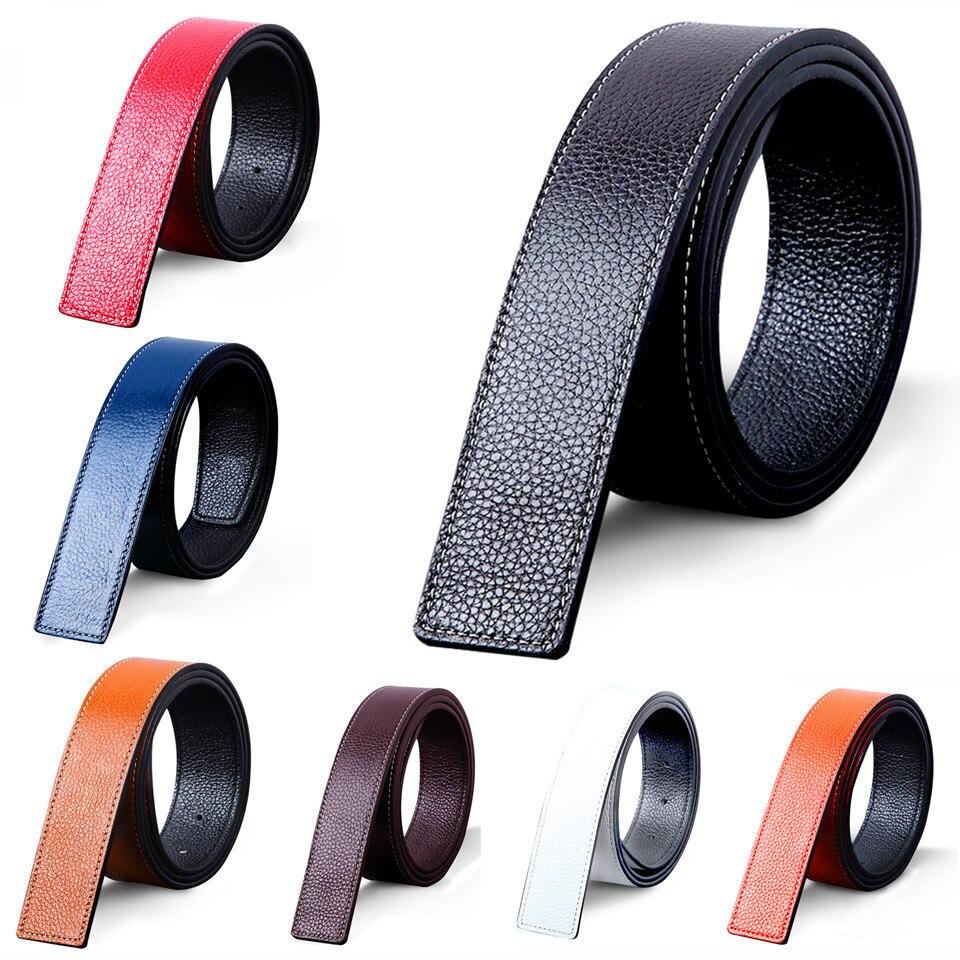 VOHIO 2017 cinturón de cuero genuino para hombre cinturones de accesorios para hombre hebilla de cinturón Neutral marca de lujo suave relieve sin hebilla de cinturón