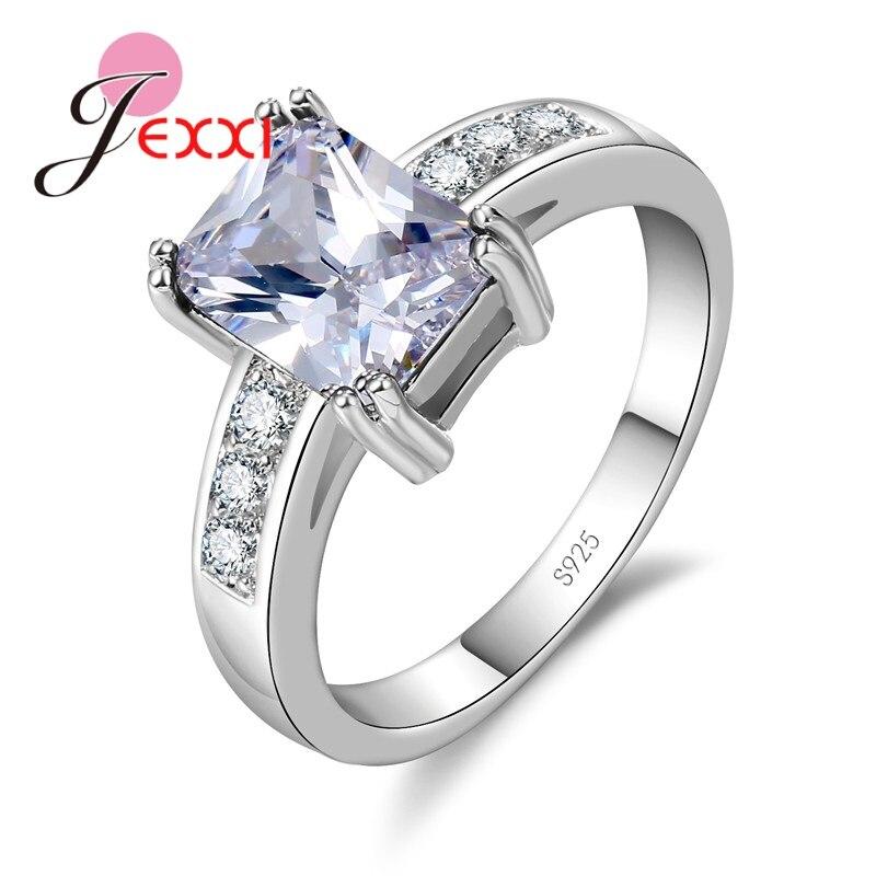 5 barev módní velké kubické zirkonové prsteny pro ženy zásnubní šperky stříbrné svatební snubní prsten příslušenství