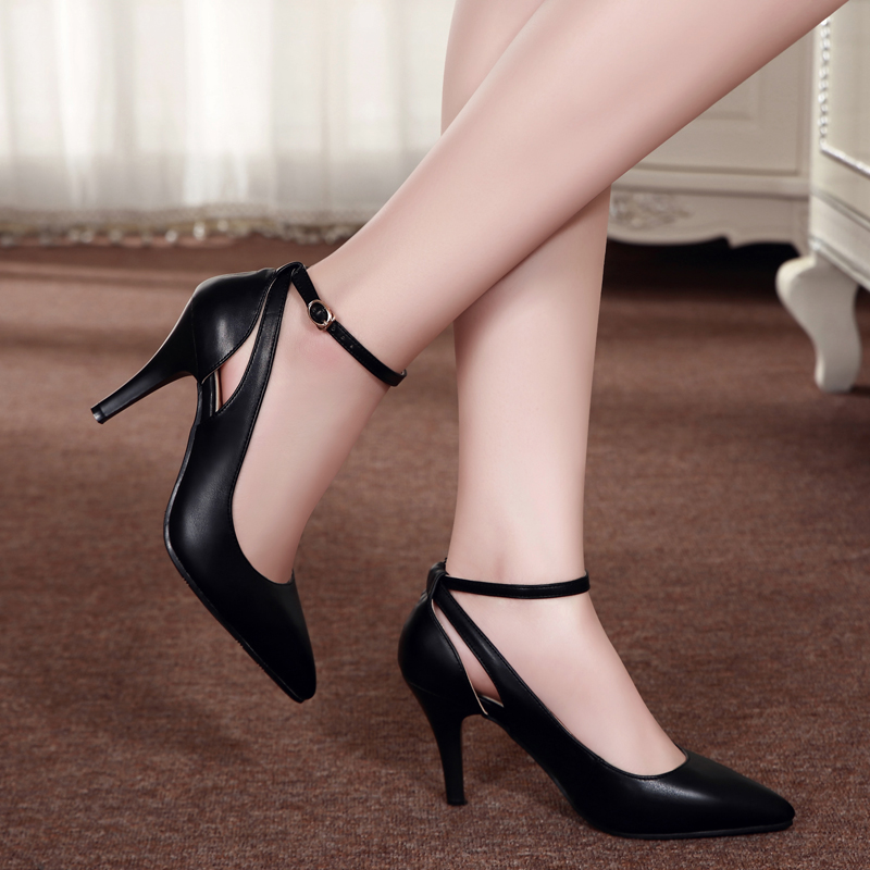 ФОТО women genuine leather high heels shoes female strap OL COMFORTABLE black work shoes pumps thin heel shoes sy-2116
