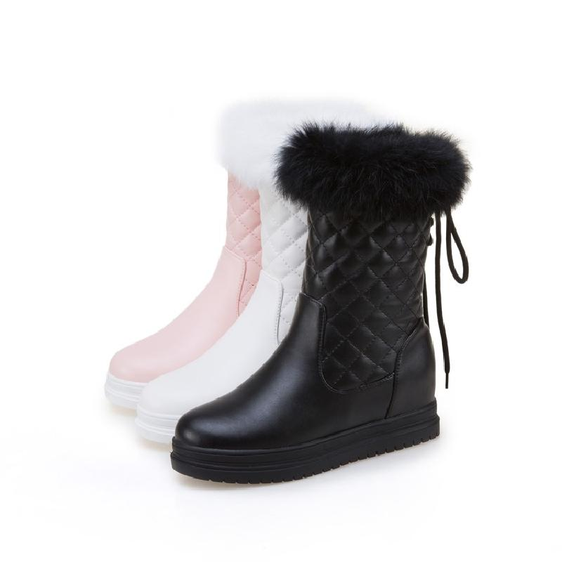 Épais Plat Hiver Blanc Chaussures Augmenter Neige Avec Velours Rose Plus Courtes Coton blanc D'hiver rose De Noir Cheveux Femmes Bottes 0ddqwr