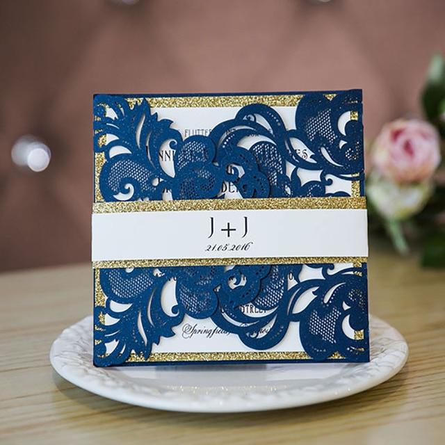1 Package Design Elegant Blue Wedding Invitations Print Invite Laser