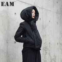 EAM 2017 Witner Hat Thickening Short Type Cotton Padded Loose Coat Fashion Winter Siolid Color