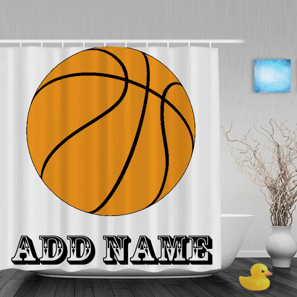 Sports shower curtain - Personalized Orange Basketball Shower Curtain Custom Name Sports Bathroom Shower Curtains Polyester Waterproof Fabric With Hooks
