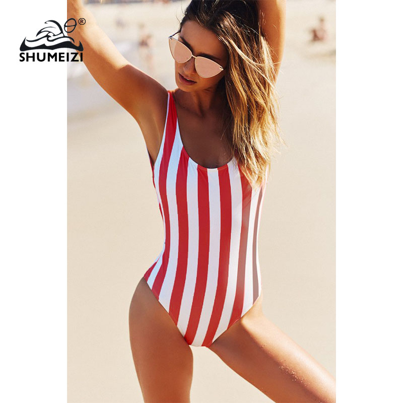 2018 Striped Swimwear One Piece Swimsuit Women Backless Monokini Swimsuit Sport Bodysuit Beach Bathing Suit Swim Red White