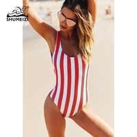 2019 traje de baño a rayas una pieza traje de baño mujer espalda descubierta Monokini traje de baño deportivo playa traje de baño nadar rojo blanco