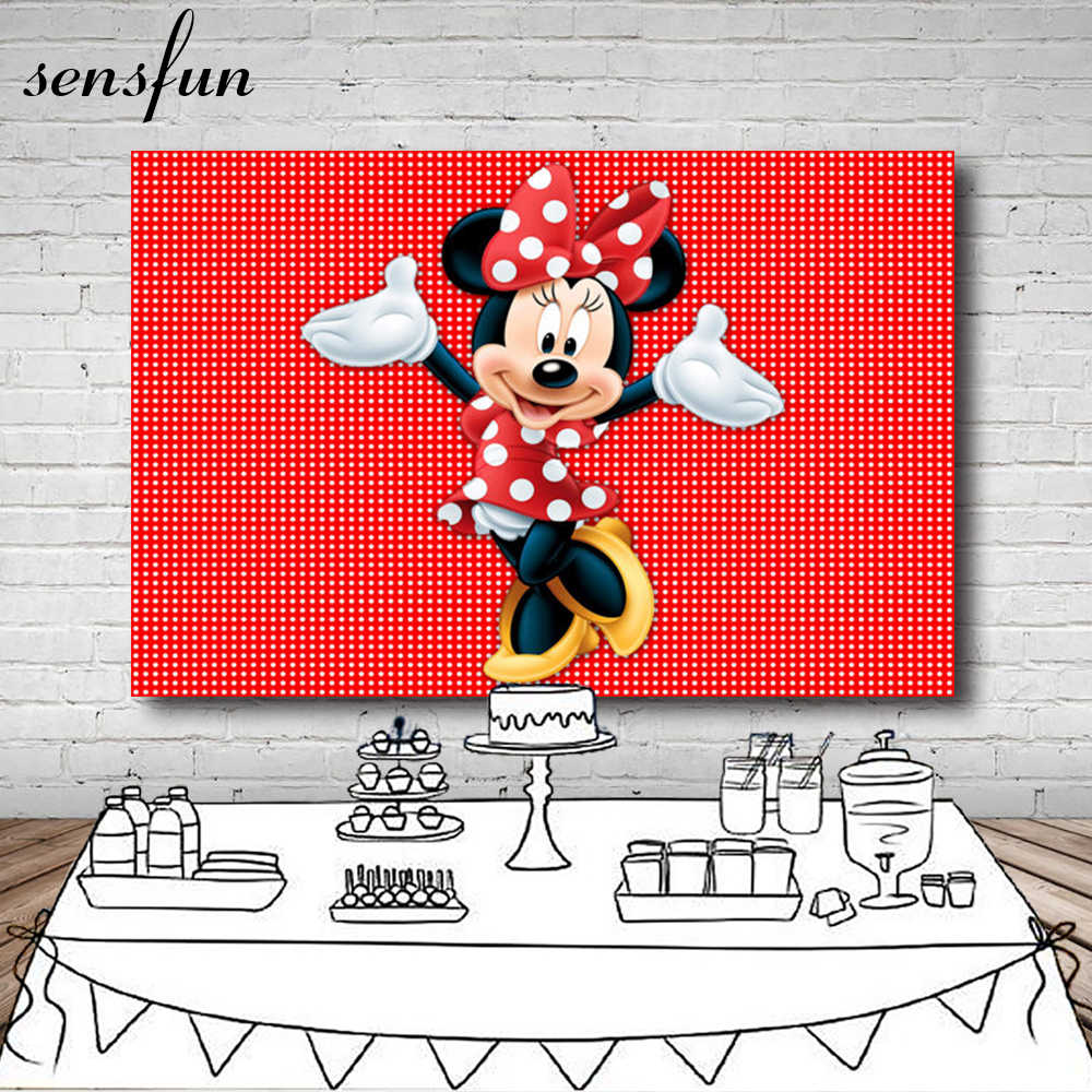 Sensfun Red Dance Minnie Photography Backdrop Polka Dots Girls Birthday Party Backgrounds For Photo Studio 7x5FT Vinyl Polyester