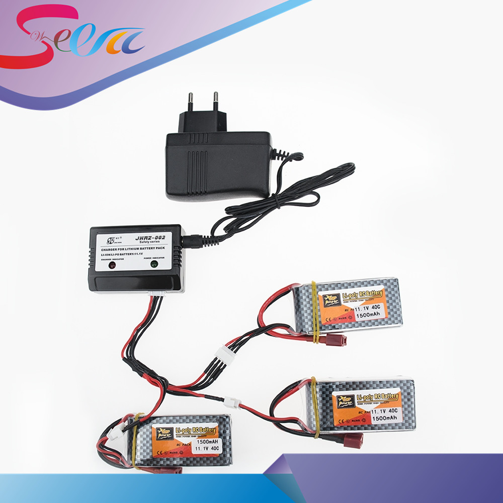 3pcs ZOP 11.1V 3S 1500Mah 40C Lipo RC Battery T / XT60 Plug With Charger Set For WLtoys V950 RC Car Airplane Drone Qudcopter 3pcs battery and european regulation charger with 1 cable 3 line for mjx b3 helicopter 7 4v 1800mah 25c aircraft parts