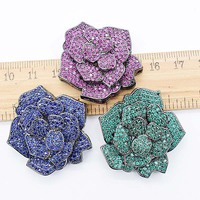 High grade zircon micro inlay rose buckle tassel pendant fashion long sweater chain link clasp