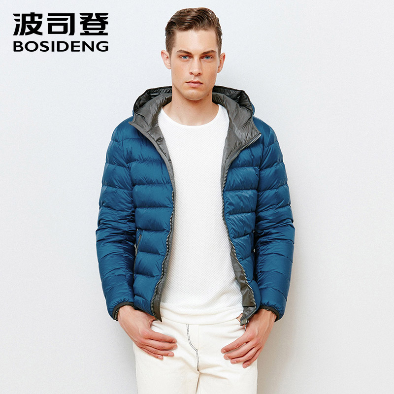 BOSIDENG mens clothing men coat winter jacket short duck down coat hoodie contrast color solid zipper pocket big size B1501059