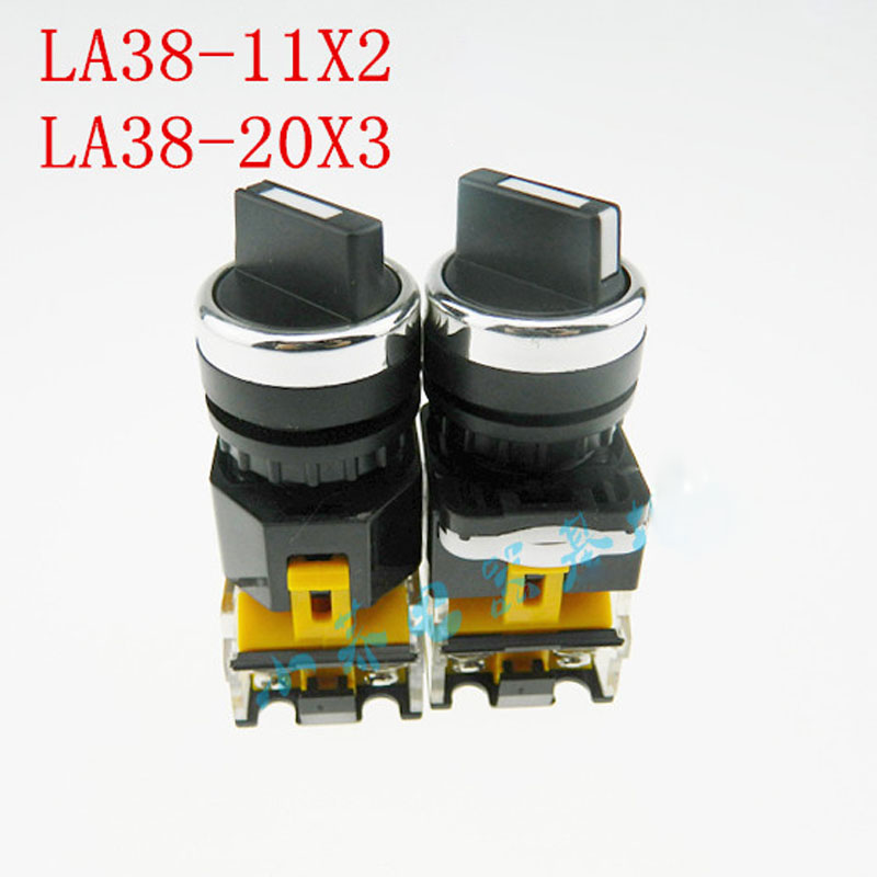LA38-11X2 20X3 Knob Switch, Select Second Gear Third Gear Button Rotary Switch Openings 22MM tn2ss rotary button switch gear selection type 2 22mm with self locking