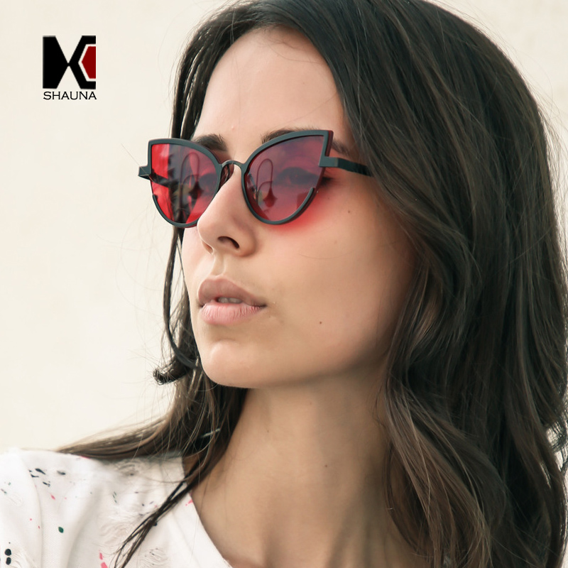 c7425cc69d Detail Feedback Questions about SHAUNA Fashion Metal half Frame Women Cat  Eye Sunglasses Candy Color Clear Red Blue Yellow Sun Glasses on  Aliexpress.com ...