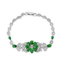 Luxury Cubic Zirconia Micro Paved Lady Bracelet Elegant Women Clear Red Crystal Flower Bracelet Jewelry Charm