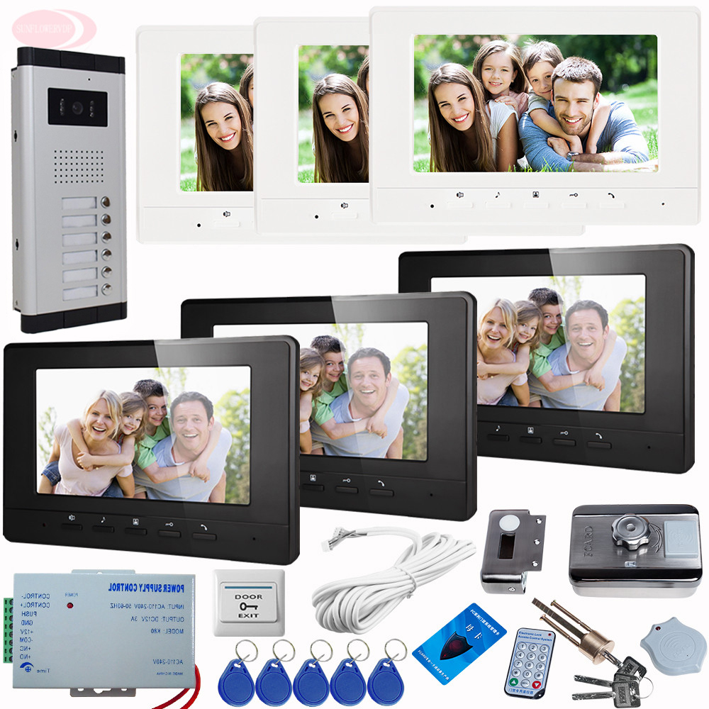 SUNFLOWERVDP Video Intercom Kit For A Private House Monitors 7 With Audio + Rfid Unlock Electronic Lock Video Intercom System private l a