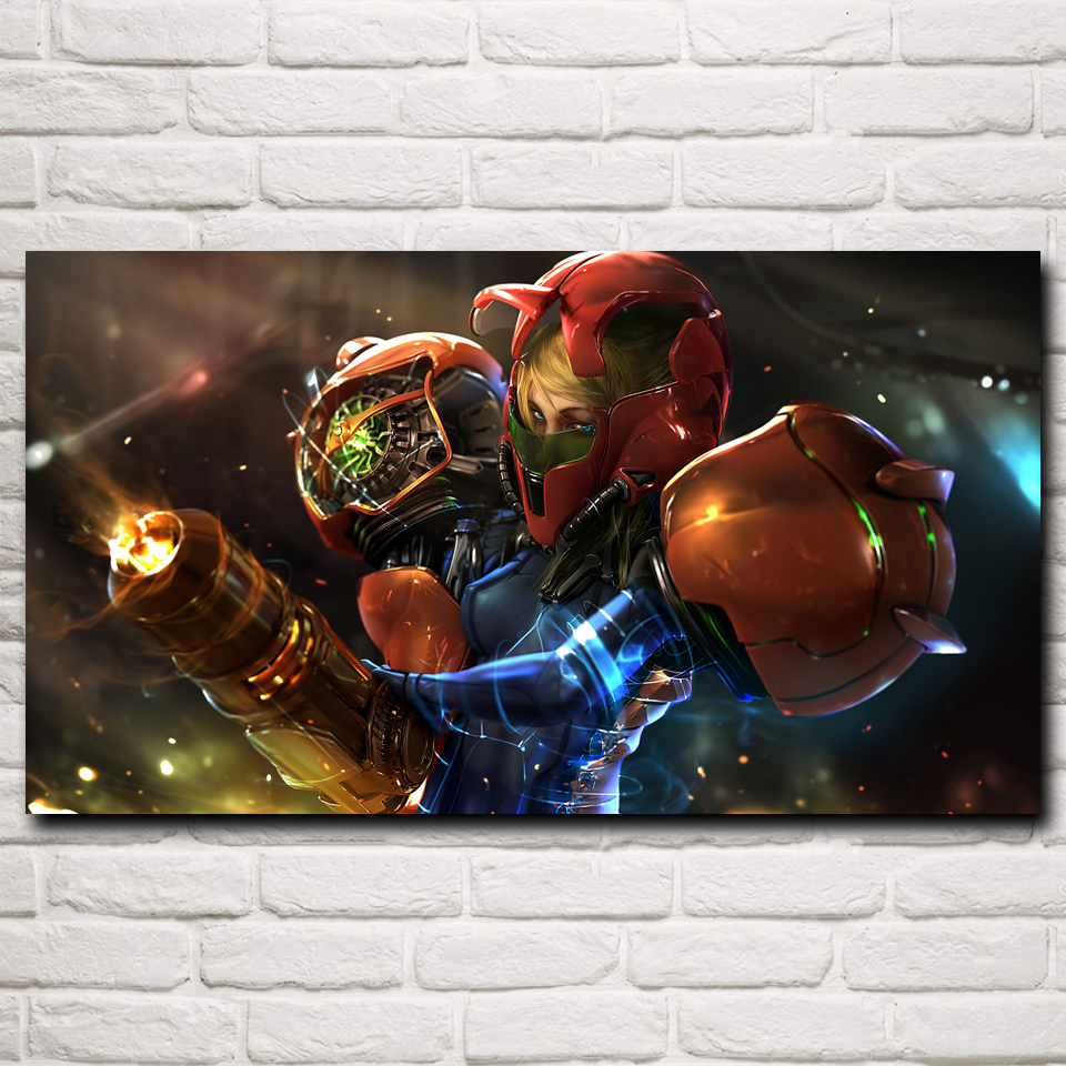 FOOCAME Metroid CGI Anime Samus Aran Video Games Art Silk Poster Prints Home Wall Decoration Painting 11x20 16x29 20x36 Inches image
