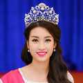 Мир моды подиум конкурса красоты чемпион Короны Tiara Европейский королевский ретро синий Стразы большая корона модель фото