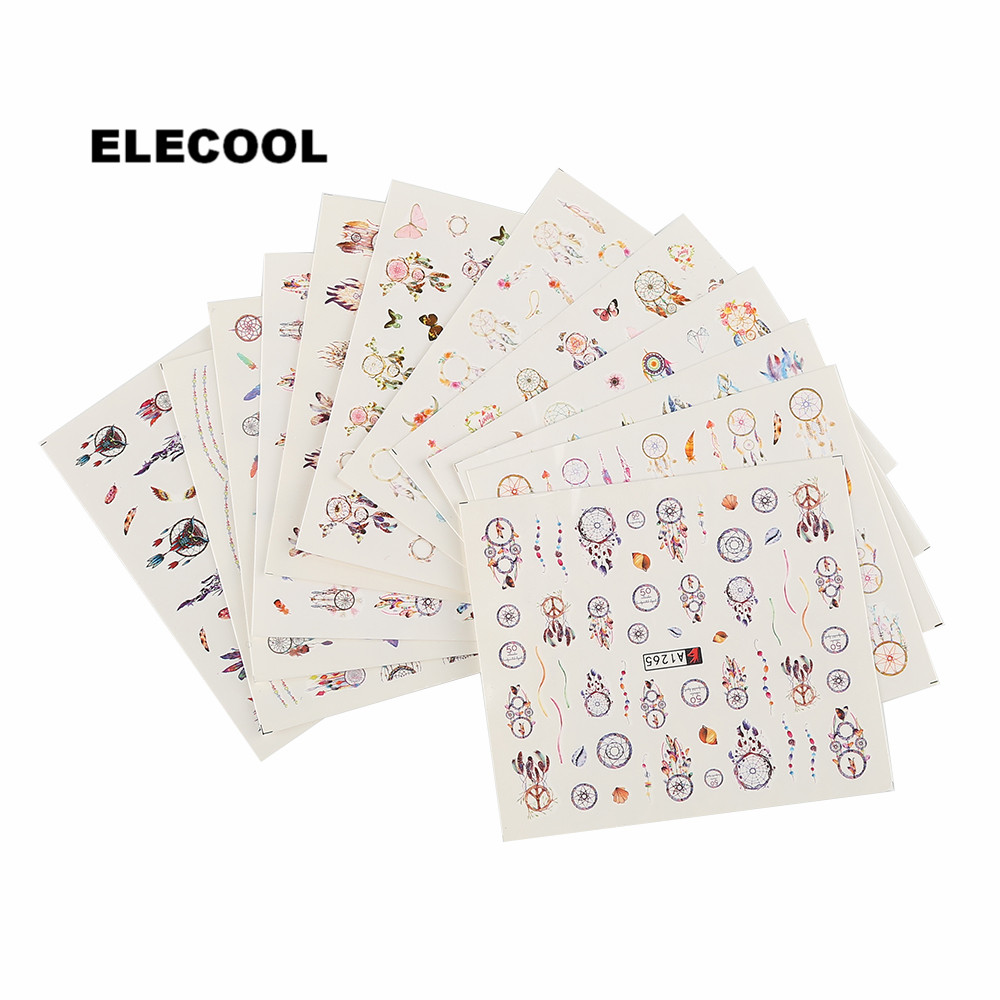 ELECOOL 12 Pcs Cute Cartoon Nail Stickers Mixed Flower Water Transfer Nail Stickers Decals Art Tips Decoration For Woman 44psc set 5 5 6 5cm mixed flower water transfer nail stickers decals art tips decoration manicure stickers ongles for holiday