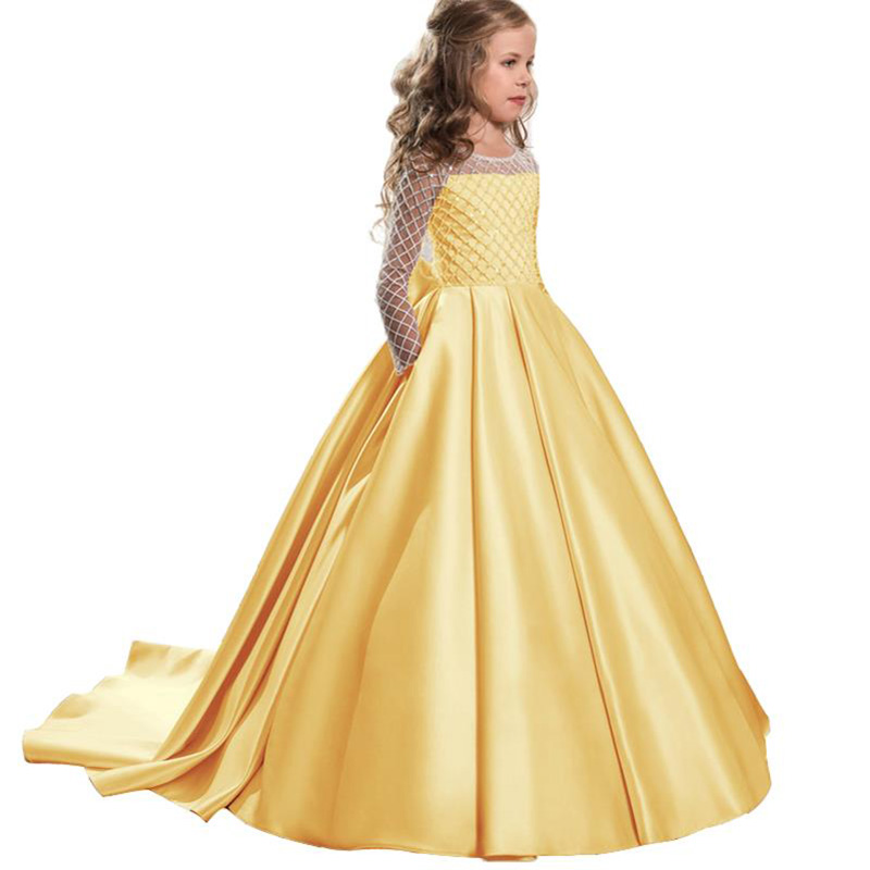 Pageant Ball Gown Embroidery Princess Evening Party Long Trailing   Dress   With Big Bow Elegant   Flower     Girls     Dress   Vestido Comunion