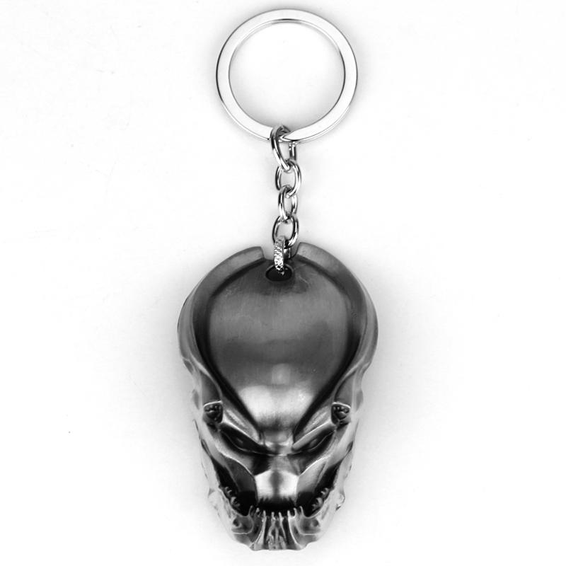 Classic Predator Metal KeyChain Movie AVP Cool Hardcore Head Keyring Evil Warrior Alien Mask Key Chain Ring Alloy Movie Jewelry