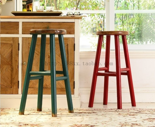 American Village Restaurant Bar Stools Wood Stool Chair European Style Blue