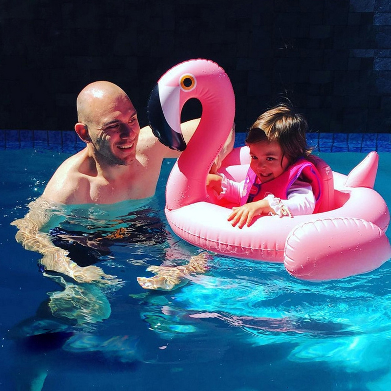 Lovely Swimming Baby Ring Kids Swimming Pink Flamingo Inflatable Swan Summer Baby Swim Float Water Fun Pool Toys Swim Seat Boat