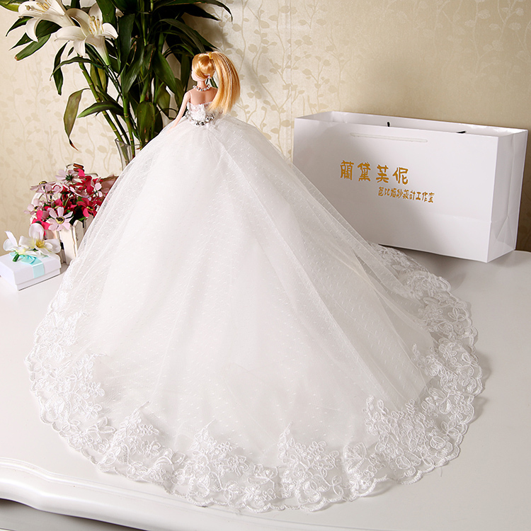 Doll Wedding Dress Luxury White Crystal Lace Bride Evening Gown Decoration Display For Kurhn Barbie Gift In Dolls From Toys Hobbies