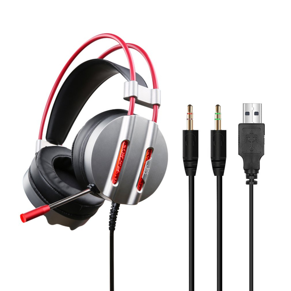 LED Light Headphone Mic Surround Sound Noise Reduction Headset 3.5MM PC Gaming Headset with USB Plug with 2.2m Cable Headphones
