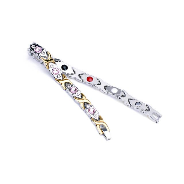 Oktrendy Jewelry Pink Crystal Stone Magnet Health Bracelets for Women DIY Adjustable Length Friendship Gift