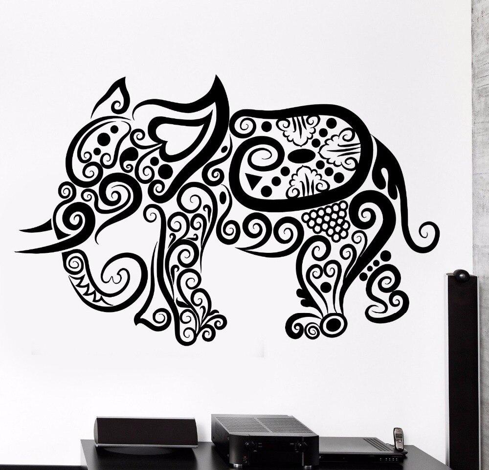 Elephant Vinyl Wall Decal Elephant Africa Animal Ornament Tribal Wall Art Sticker Wild Animal Bedroom Wall Sticker Home Decor