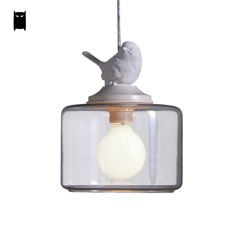 Resin Glass Shade Bird Pendant Light Cord Fixture Nordic Cottage Modern Lustre Avize Luminaria Design for Kids Bedroom Balcony