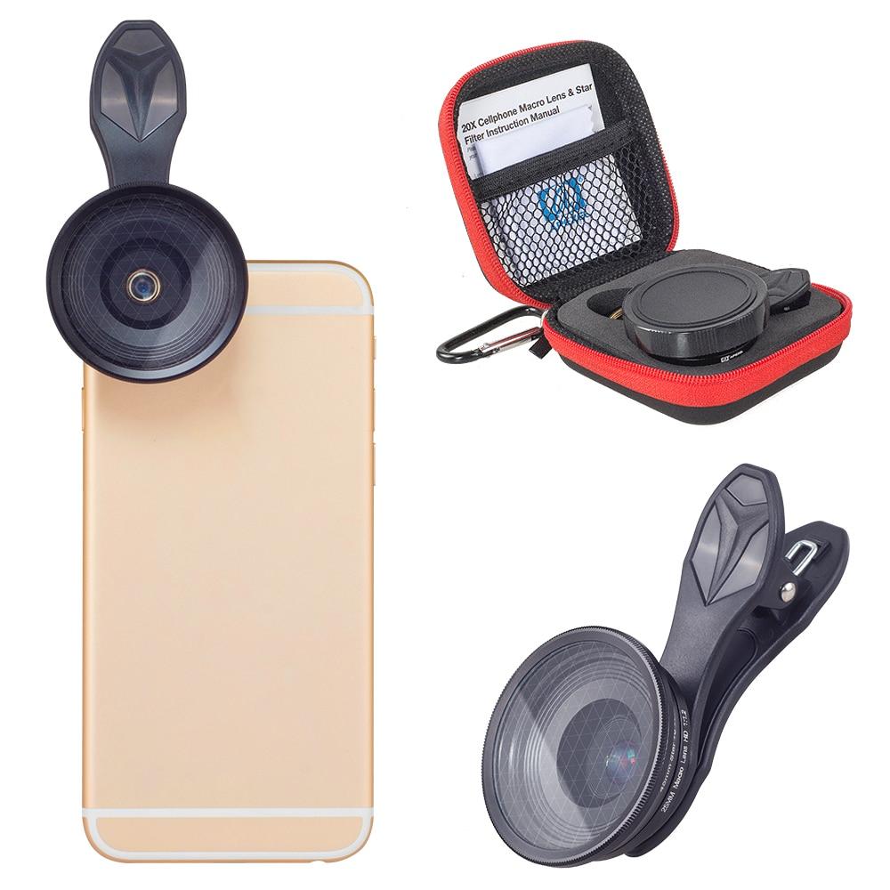 APEXEL Originale del telefono mobile lente 25mm super macro lens con la stella del filtro della macchina fotografica fotografia macro lente per iphone android ios