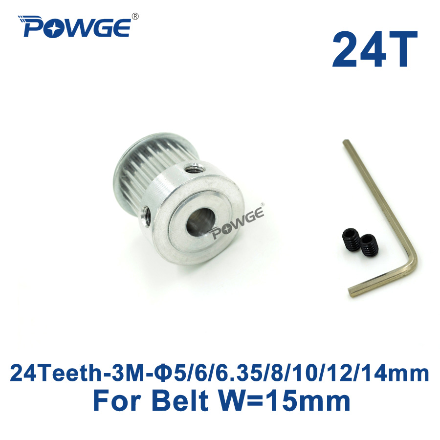 POWGE 1pcs 24 Teeth HTD 3M Timing Pulley Bore 5/6/6.35/8/10/12/14mm for Width 15mm 3M Synchronous belt HTD3M pulley 24Teeth 24T