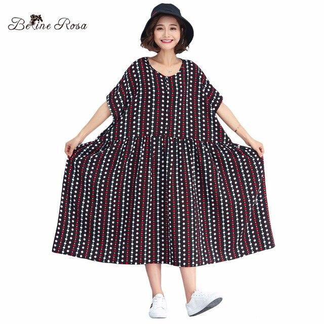 026c7dd97e2 BelineRosa 2018 Women s Big Sizes Dresses 4XL 5XL 6XL Big Sizes Women  Clothing Polka Striped Large Size Dress Women TYW00744