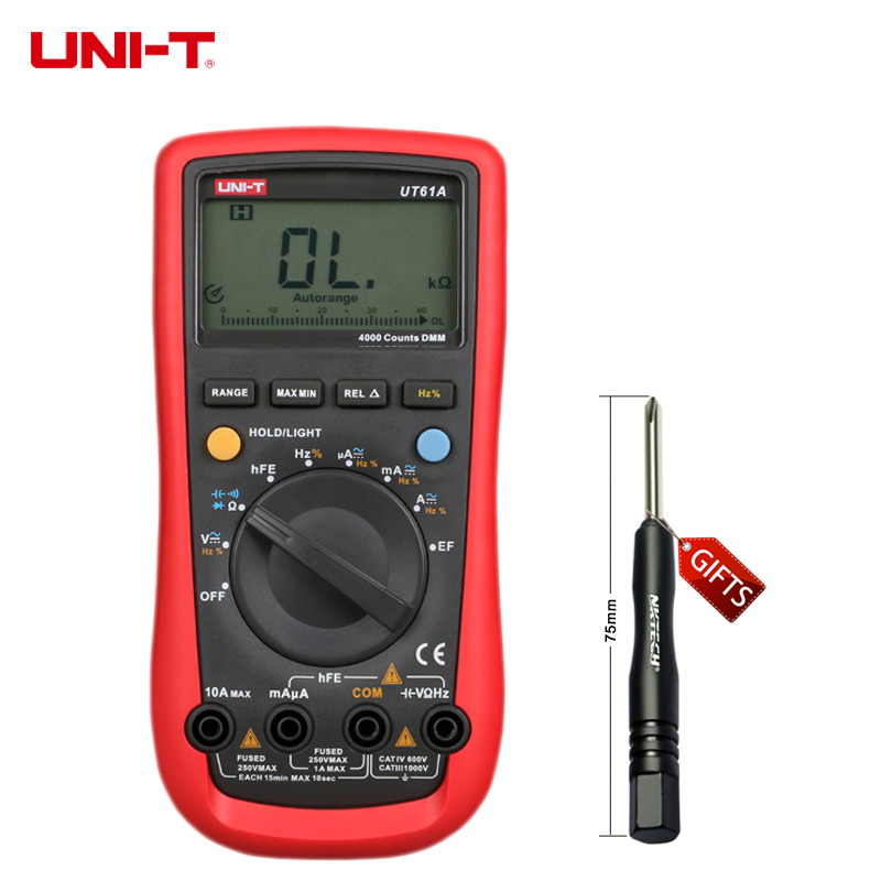 New UNI-T UT61A Digital Multimeter Modern DMM Transistor NCN Tester Voltage Current Resistance Frequency Meter LCD Back-light