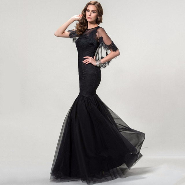 fc88ab8ad675 Elegant Black Appliques Mermaid Evening Dress Luxury Lace Shawl Prom Party  Dresses Women Long Formal Evening