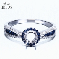 HELON Real 0.5ct 100% Genuine Natural Diamonds & Genuine Sapphires Semi Mount 4 5mm Round Cut Solid 10K Gold Ring Party Jewelry
