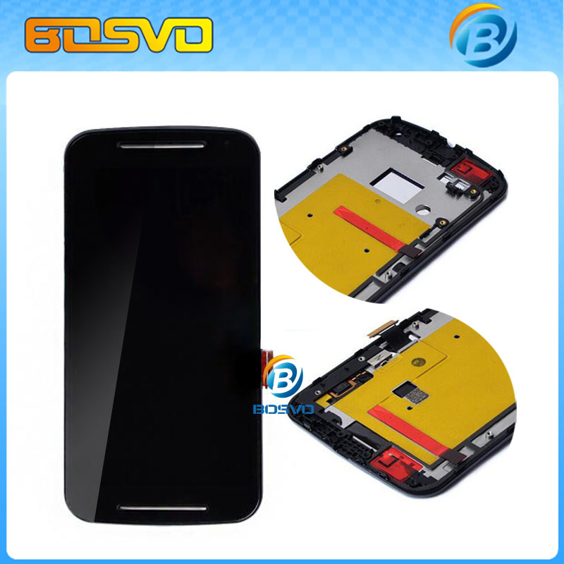 2 pieces / lot Black LCD Display Touch screen with digitizer + Bezel frame For Motorola for Moto G2 XT1063 XT1064 XT1068 + tools