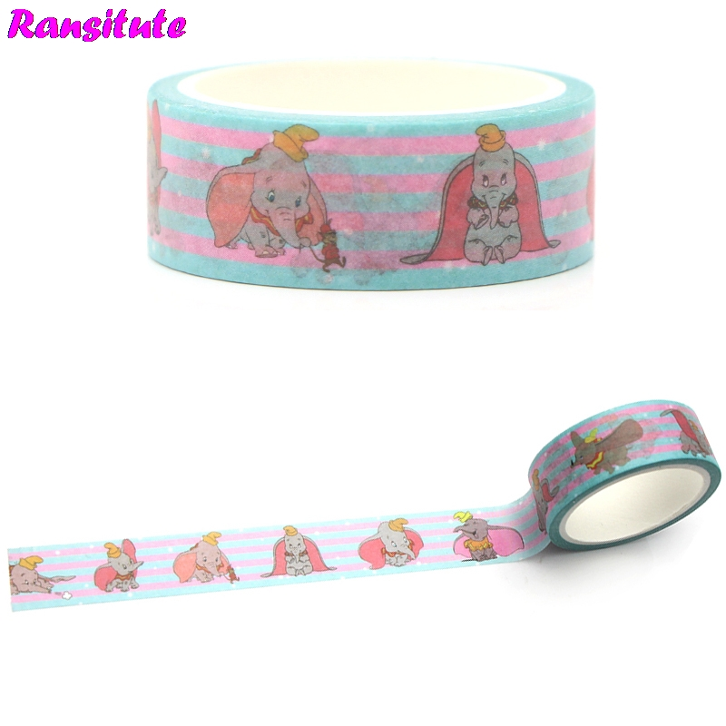 Ransitute R370 Dumbo Children's Toys Washi Tape Traffic Tape Toy Car Decoration Hand Sticker Japanese Style
