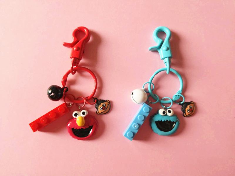 New 2019 High Quality Cute Sesame Street Plush Keychain Cartoon Red Elmo Cookie Monster Keyring for Girls Toy