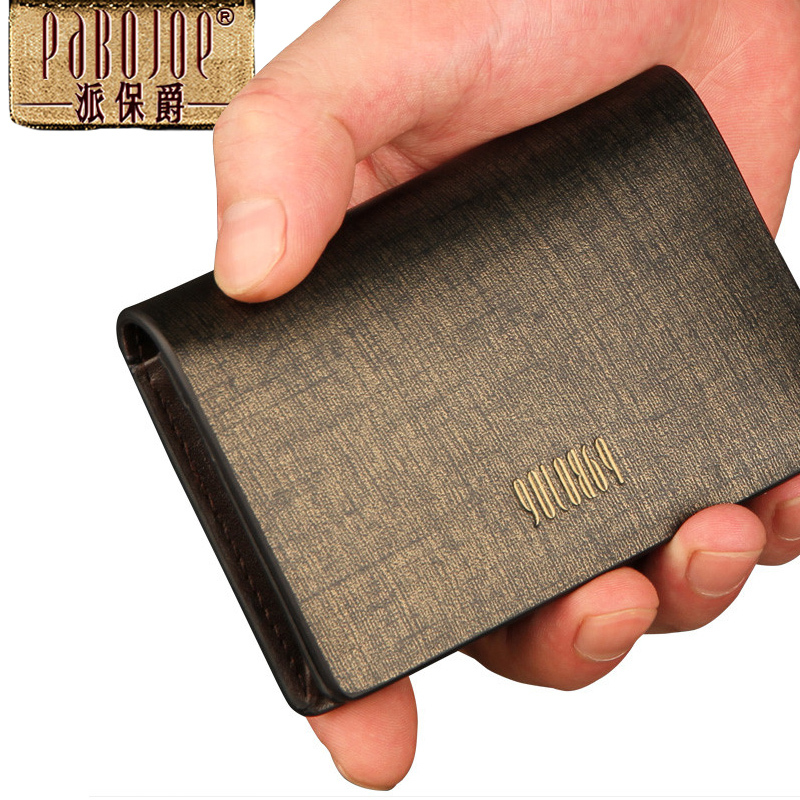 Promotion portable new real leather card case business name card promotion portable new real leather card case business name card holder credit card id bag wallet mens wallets bank card purse in card id holders from reheart Gallery