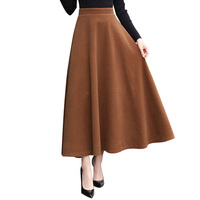 New Winter Skirt Autumn Fashion Women's Long Woolen Skirts A line Wool Skirts 6 Colors Solid High Waist Casual Big Swing Skirts