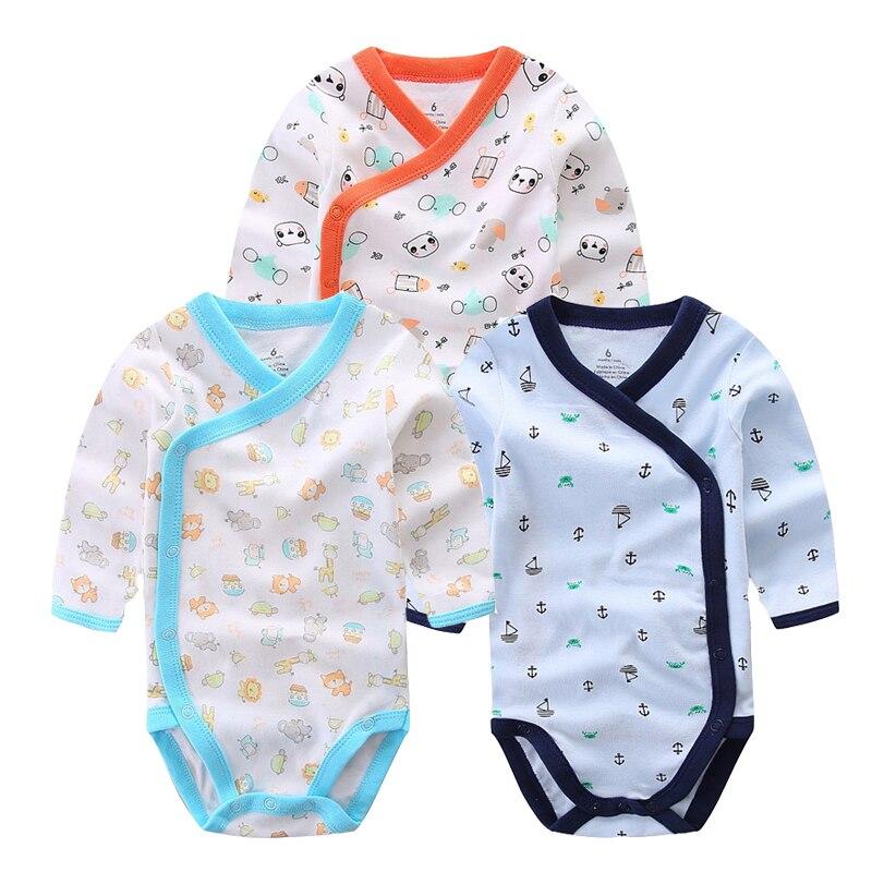 3 PCS Sorrindo Bebê Marca Romper Do Bebê Mangas Compridas de Algodão Do Bebê Recém-nascido Roupa do Menino Da Menina Dos Desenhos Animados Impresso Conjunto de Roupas de Bebê 0-12 M