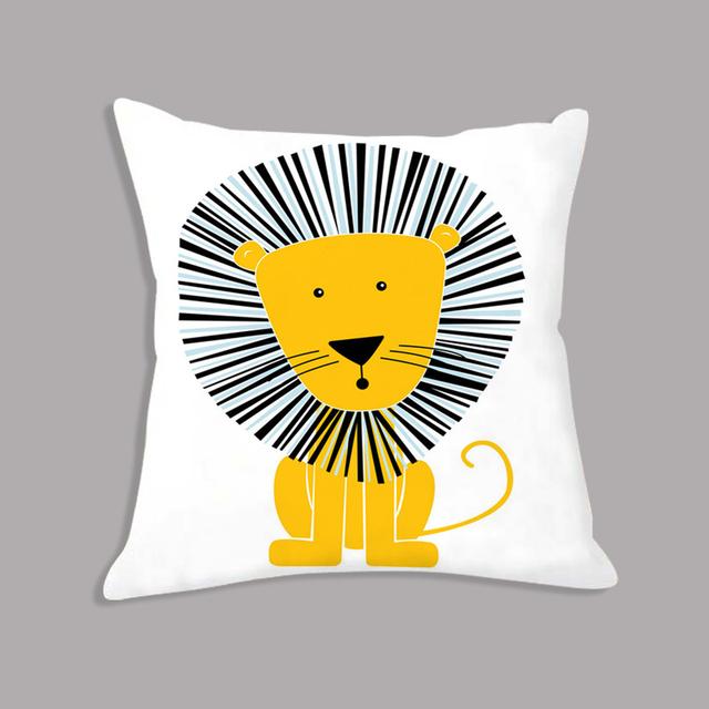 Decorative Cartoon Animal Printed  Pillowcase – Giraffe Lion Elephant