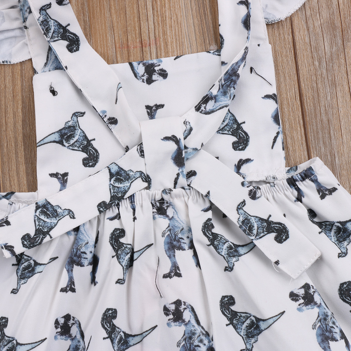 52ff1a20843d Fashon Summer Newborn Baby Girls Dinosaur Sleeveless Fly Sleeve Cotton Dress  Clothes Outfits Sundress Summer-in Rompers from Mother   Kids on  Aliexpress.com ...