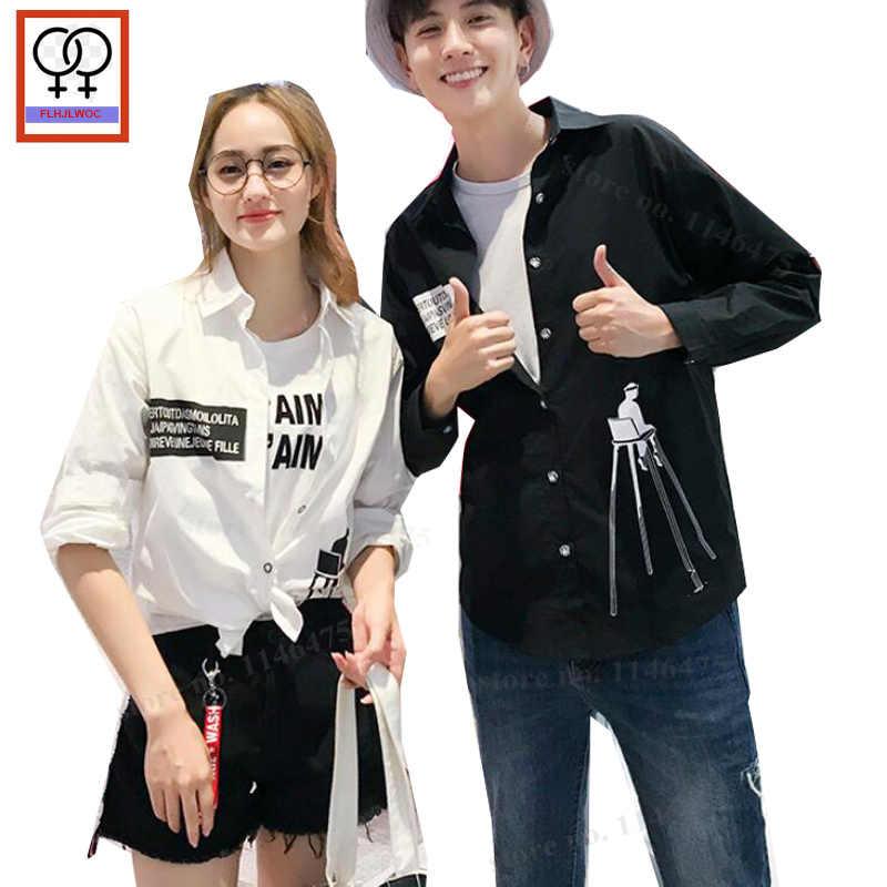 ed79fd0751e1 Preppy Style Cardigan Girlfriend Boyfriend Shirts Autumn Fall Long Sleeve  Top Print White Black Matching Lovers